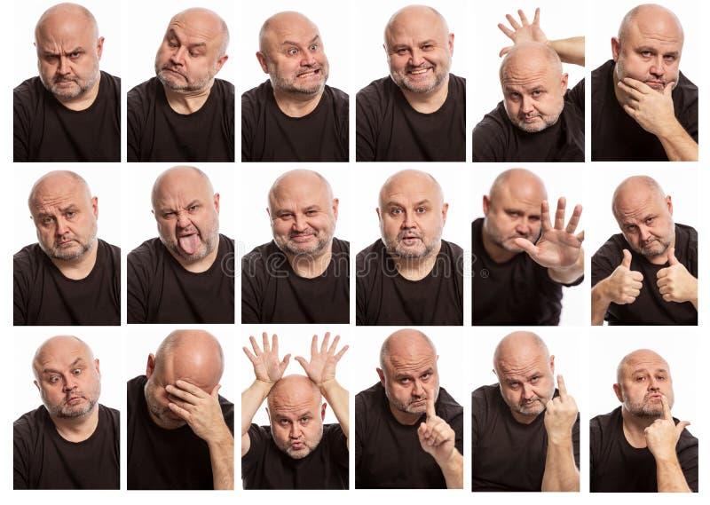 Ställ in av bilder av en skallig man med olika sinnesrörelser arkivbilder