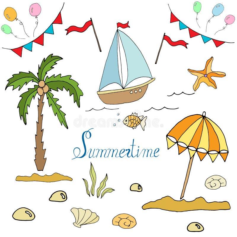 Ställ in av bilder av palmträdet, fartyget, slags solskydd royaltyfri illustrationer
