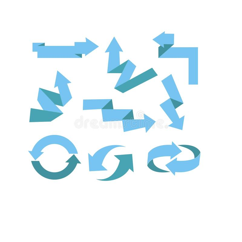 Ställ in av blå pilvektor för is vektor illustrationer