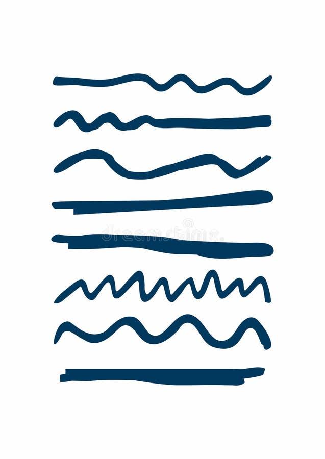 Ställ in av blåa understrykningar som dras av handen Grova horisontal- och krabba linjer Skissa, klottra, klottra vektor illustrationer