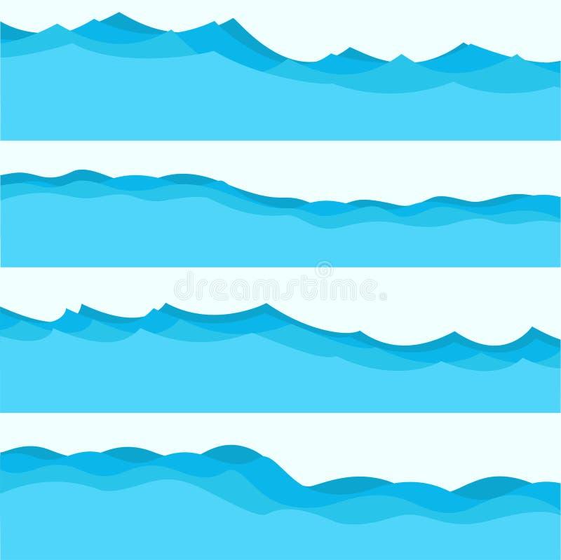 Ställ in av blåa vågor, vätskesymboler, havstema stock illustrationer