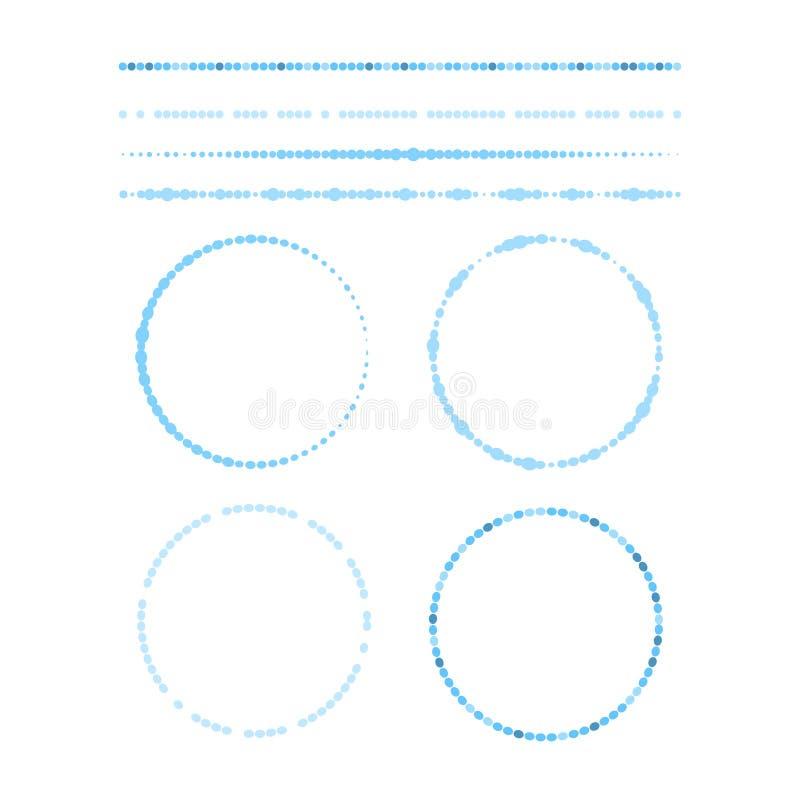 Ställ in av blåa vektorgränser och runda ramar som göras med prickar och cirklar, samling av designbeståndsdelar royaltyfri illustrationer