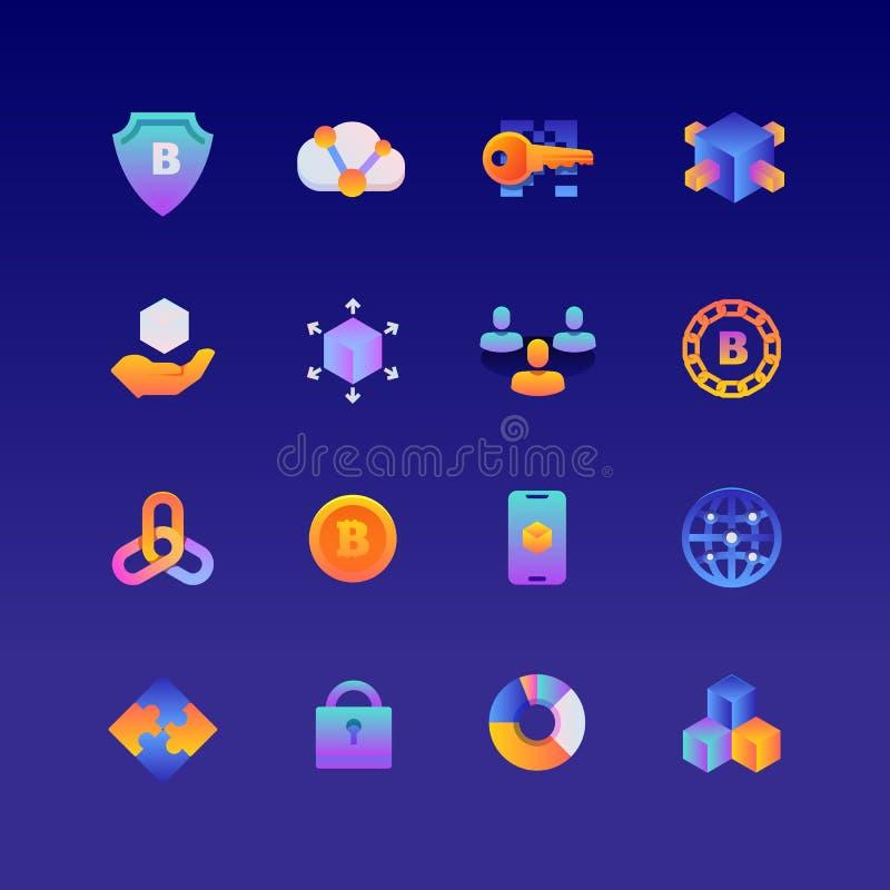 Ställ in av Blockchain Vektorlutningsymboler Redigerbar färg PIXEL 48x48 royaltyfri foto