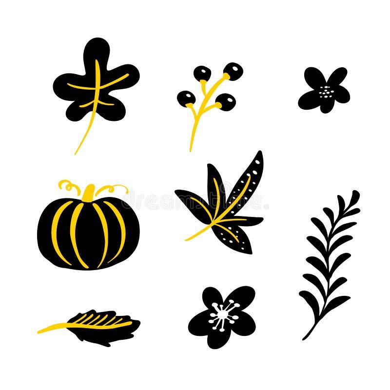 Ställ in av blom- beståndsdelar för vektorklotter tabell f?r squash f?r h?stsamling f?rgrik Örter, sidor, pumpa och lösa blommor  vektor illustrationer
