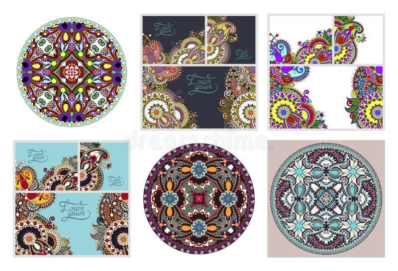 Ställ in av blom- dekorativ bakgrund, mallramdesignen för kort stock illustrationer
