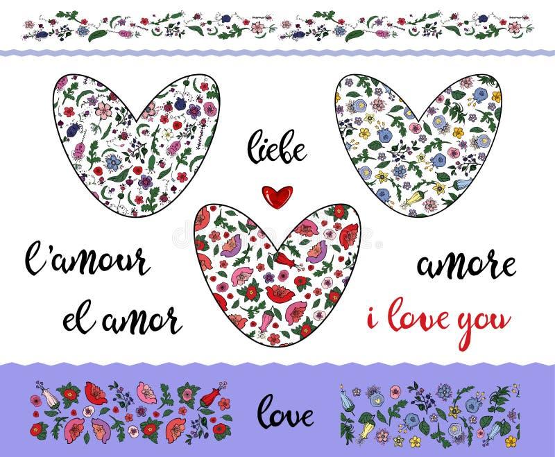 Ställ in av blom- klottra hjärtor med den redigerbara slaglängden på den genomskinliga bakgrunden Gränser och ordförälskelse vektor illustrationer