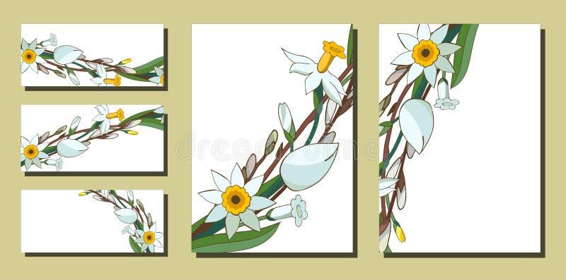 Ställ in av blom- vårmallar med grupper av den vita påskliljor och pilen Affärskort med pingstliljan och salixen f?r stock illustrationer