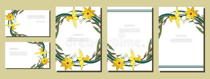 Ställ in av blom- vårmallar med grupper av gula påskliljor och pilen Kort med pingstliljan och salixen F?r romantiker stock illustrationer