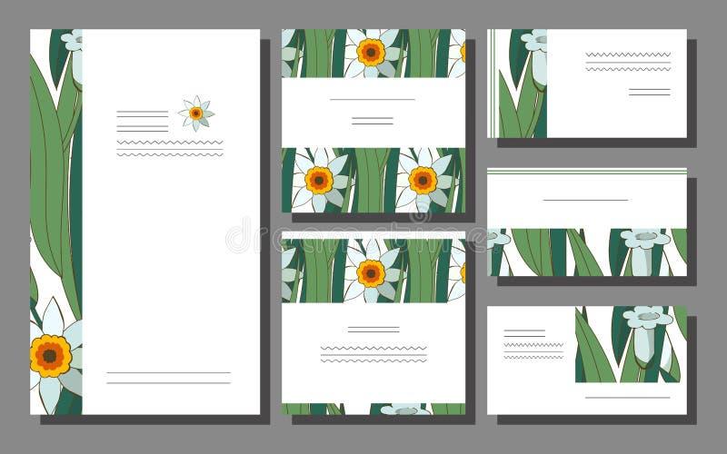 Ställ in av blom- vårsommarmallar med vita påskliljor på en grön backround Aff?rskort med pingstliljan f?r stock illustrationer