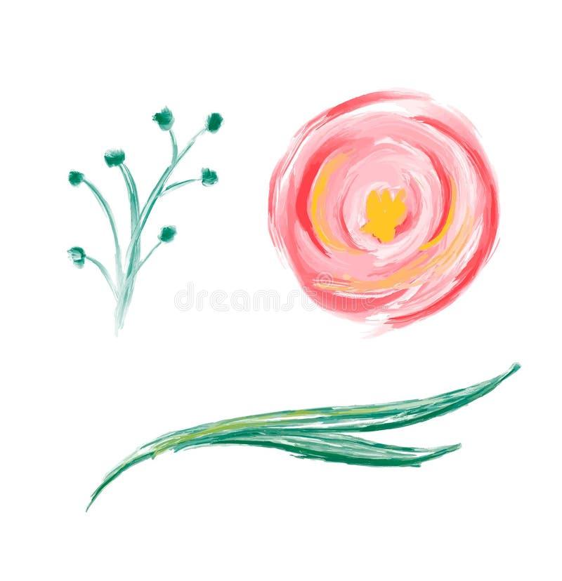 Ställ in av blomman för vektorn för den gulliga vårvattenfärghanden den utdragna Konst isolerade objektillustrationer för att gif vektor illustrationer