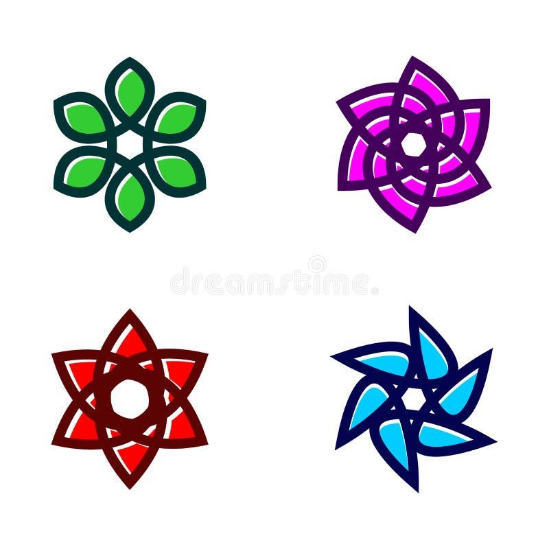 Ställ in av blommasymbolsvektor vektor illustrationer