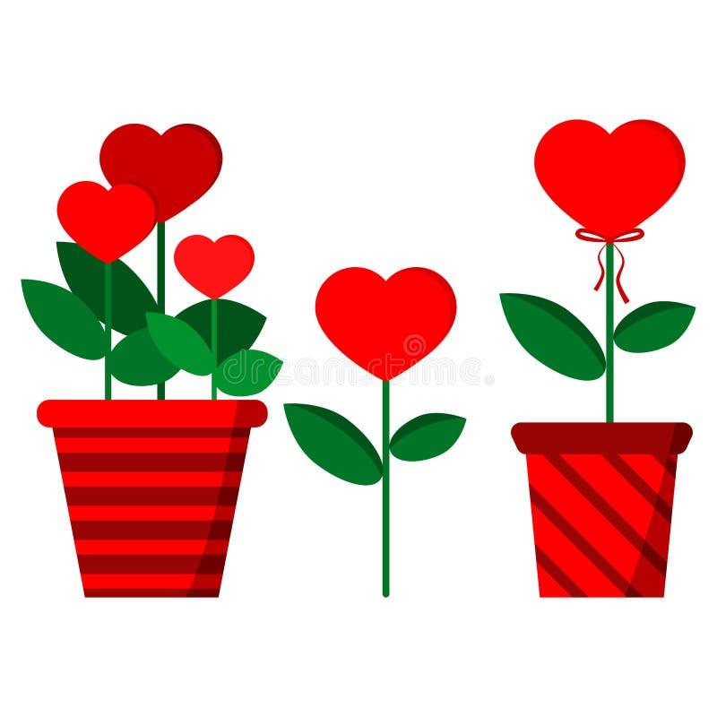 Ställ in av blommor i hjärta-format: tre blommor i den röda avrivna krukan, enkel blomma, blomma med pilbågen vektor illustrationer
