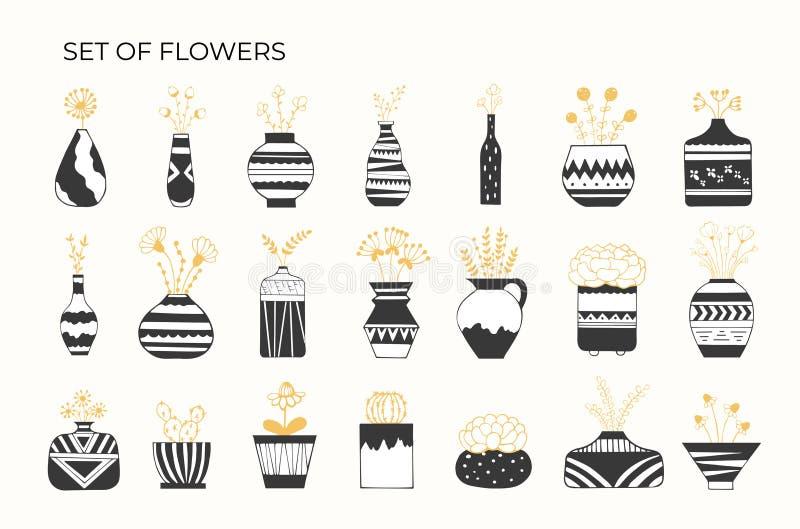 Ställ in av blommor i krukor med modeller stock illustrationer