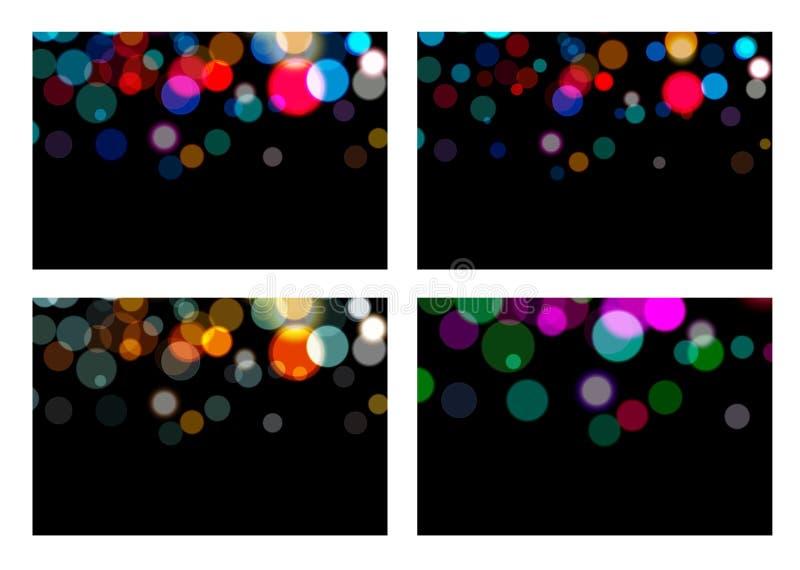 Ställ in av bokeheffektbakgrunden Magisk jul som glöder på svart bakgrund Gjort suddig skinande blänker abstrakt ljus lampa stock illustrationer