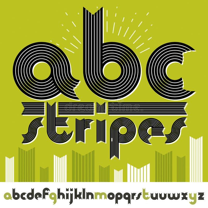 Ställ in av bokstäver för engelskt alfabet för utsmyckad vektor små isolerat Den moderiktiga djärva stilsorten, skrift från a til stock illustrationer