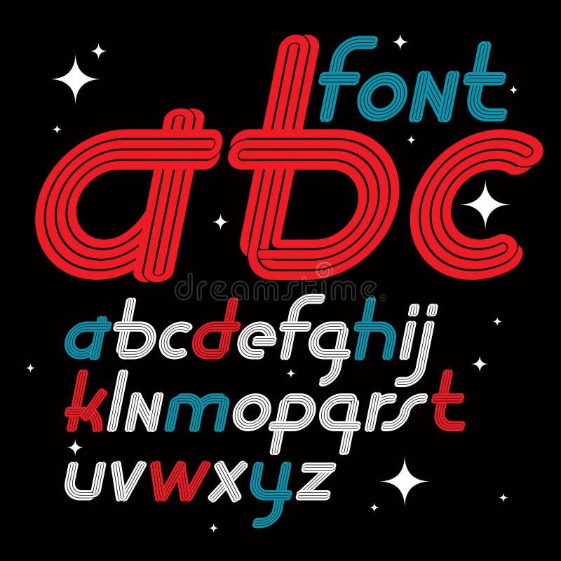 Ställ in av bokstäver för engelskt alfabet för vektorkursiv små skraj I royaltyfri illustrationer