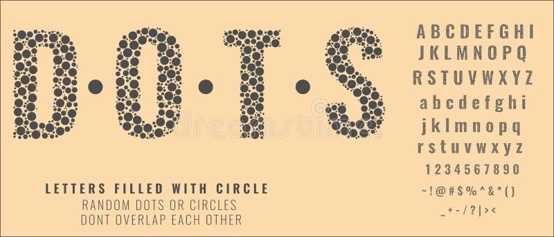 Ställ in av bokstäver som göras av prickar eller fylls med cirklar Idérika stilsorter med huvudstad, små bokstäver, nummer och sy royaltyfri illustrationer