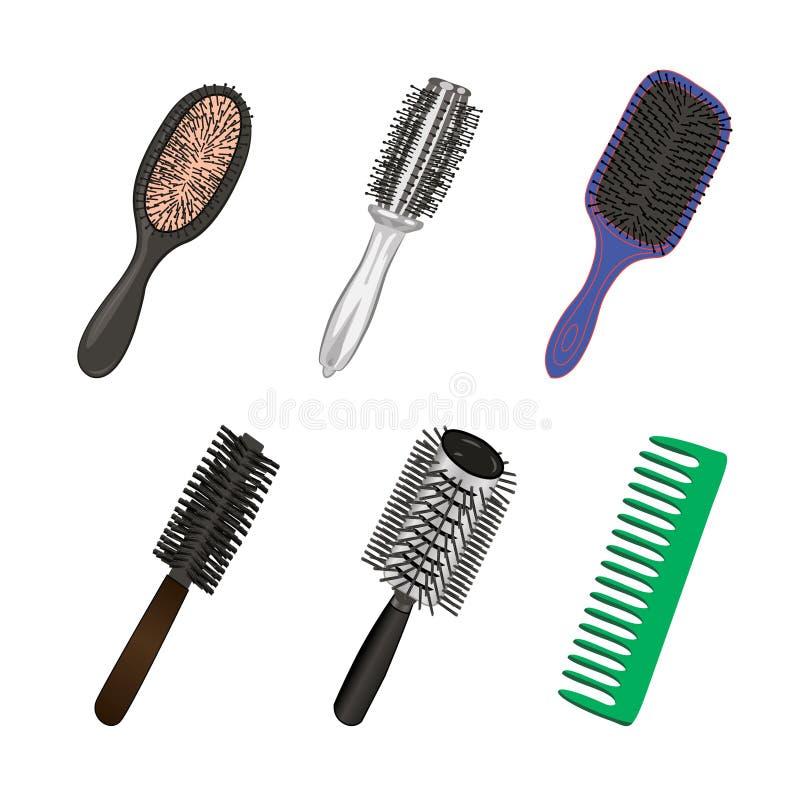 Ställ in av borstar för frisör stock illustrationer