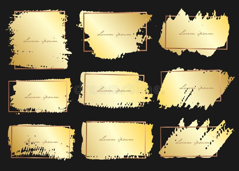 Ställ in av borsteslaglängdramen, guld- grungeborsteslaglängder vektor illustrationer