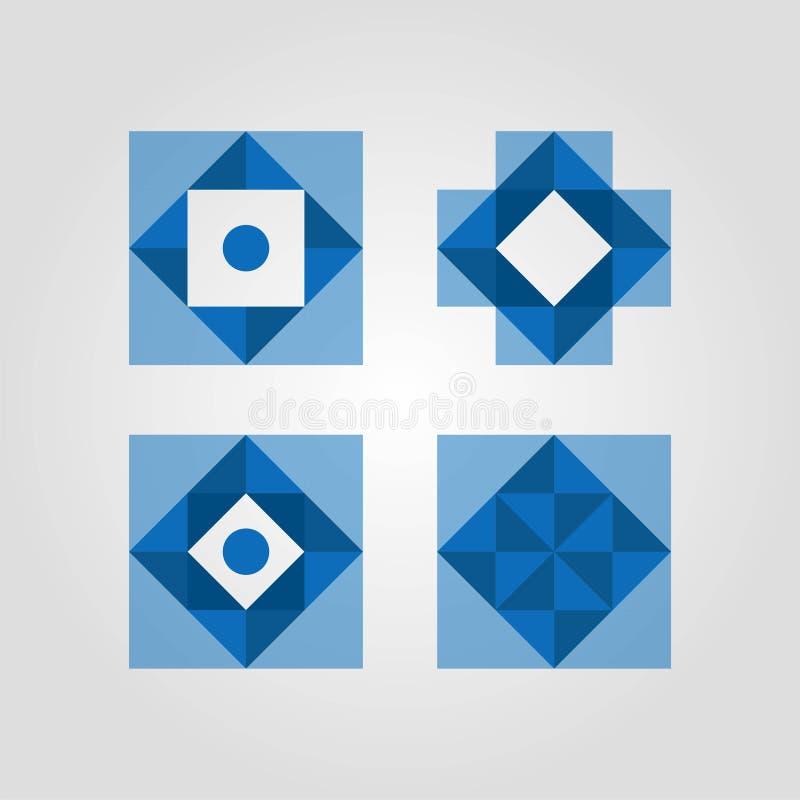 Ställ in av bra färglogo Idérik fyrkantig mall för design för triangeldiamantlogo Designlogo vektor illustrationer