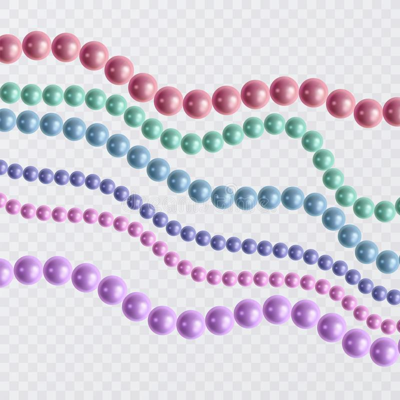 Ställ in av brudpärlor, tappningtillbehör som halsbandet isolerade modeller Elegant lyxig garnering, realistisk illustration av p stock illustrationer
