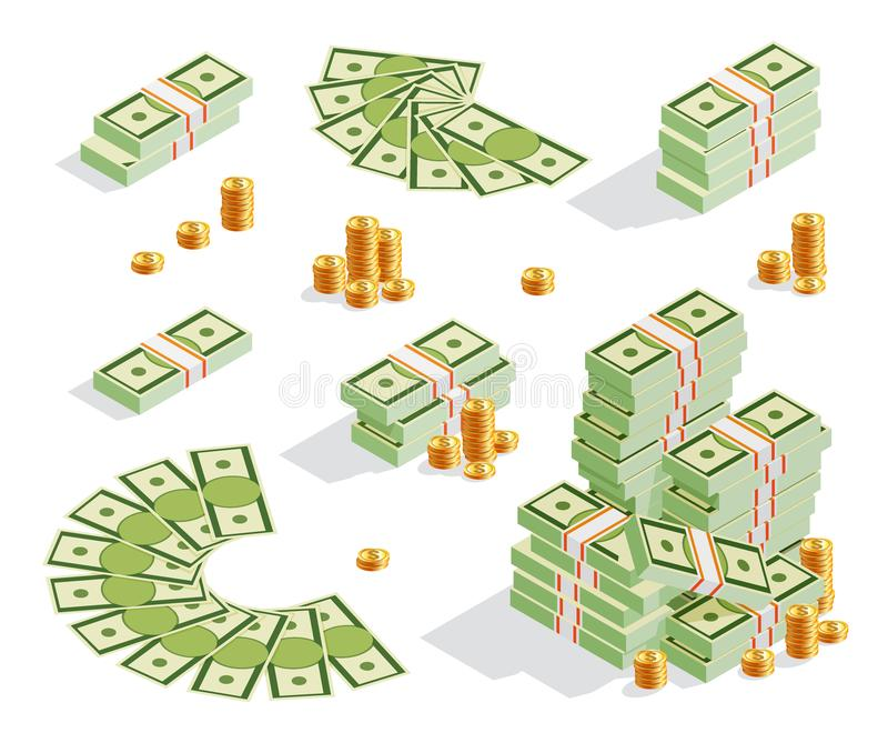 Ställ in av bunt av sedlar, guld- mynt, pengarfanen, kassa royaltyfri illustrationer