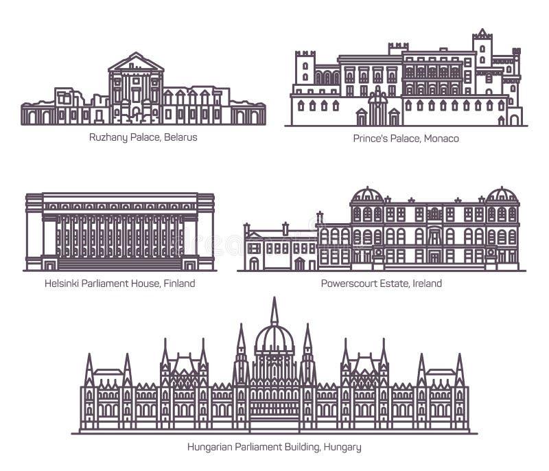 Ställ in av byggnader för europeisk parlament i tunn linje stock illustrationer