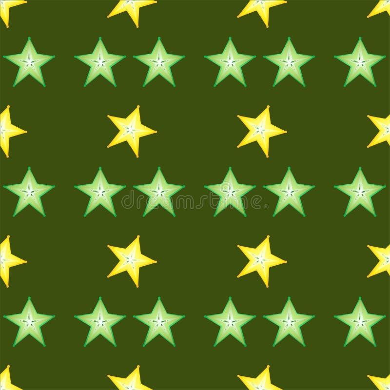 Ställ in av calambolslieces på grön bakgrund stock illustrationer