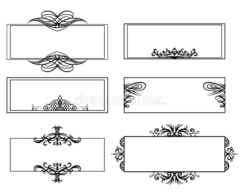 Ställ in av calligraphic svartvita ramar Objektet är separat från bakgrunden stock illustrationer