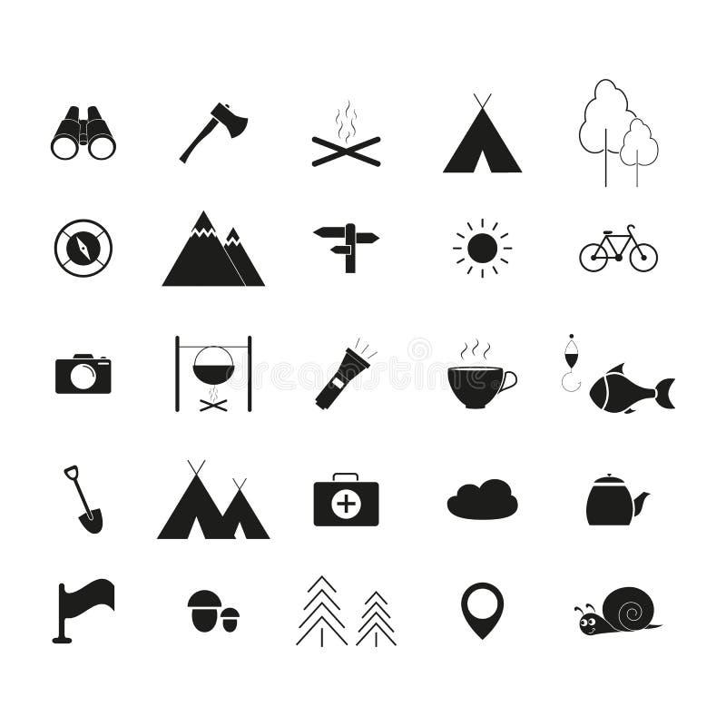 Ställ in av campa aktiviteter en linje symboler stock illustrationer
