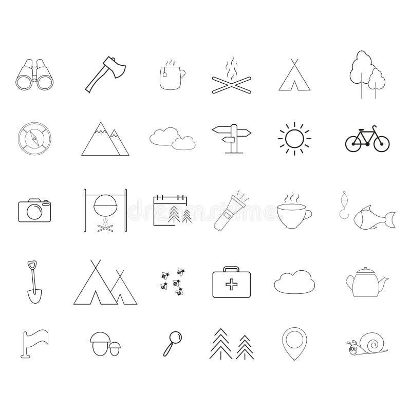 Ställ in av campa aktiviteter en linje symboler vektor illustrationer