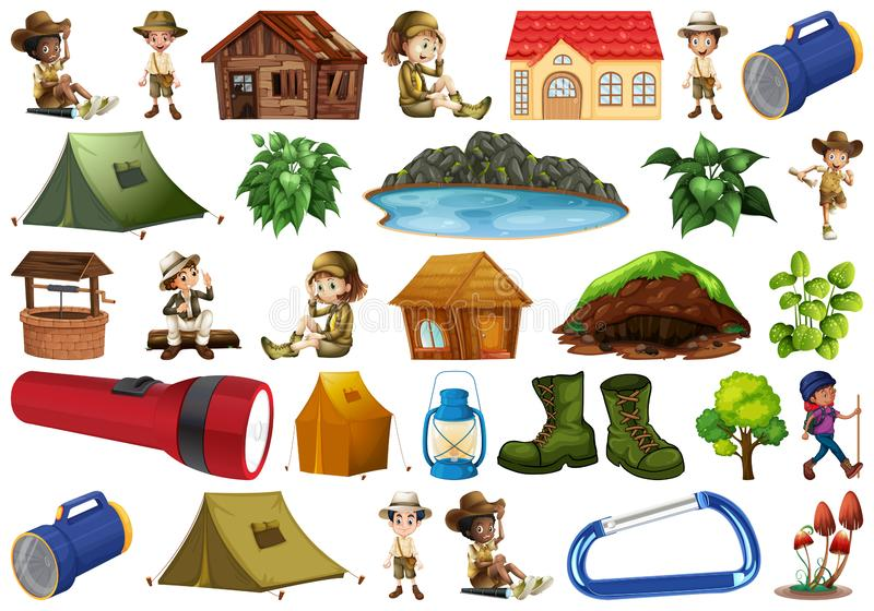 Ställ in av campa beståndsdel stock illustrationer