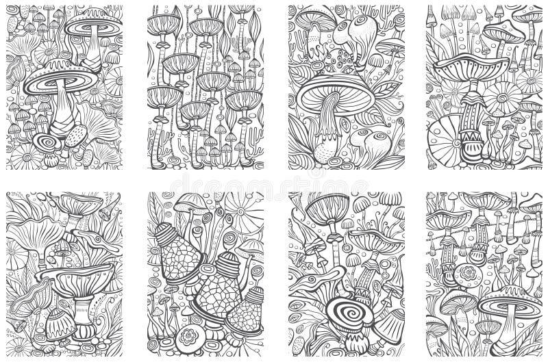 Ställ in av champinjoner som färgar den antistress boksidan royaltyfri illustrationer