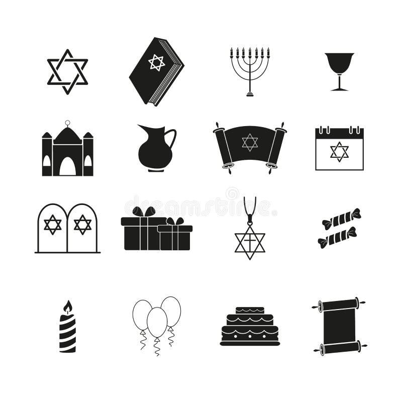 Ställ in av Chanukkah ferien av symboler vektor illustrationer