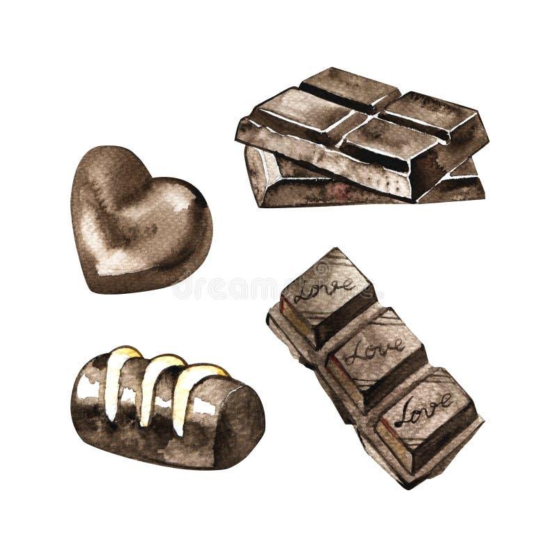 Ställ in av choklader som drar vid vattenfärgen på en vit bakgrund, utdragna designbeståndsdelar för hand vektor illustrationer