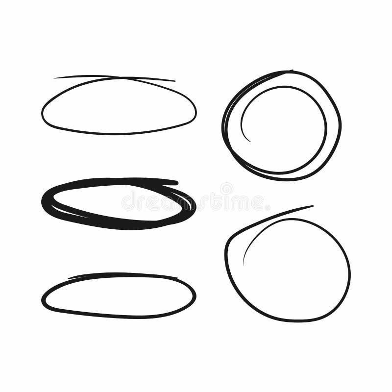 Ställ in av cirklar och ovals som dras av handen Skissa, klottra, klottra vektor illustrationer