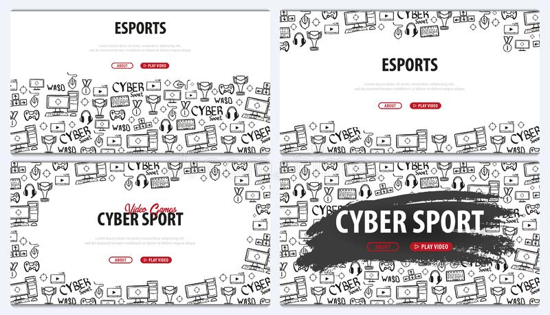 Ställ in av Cybersportbaner Esports dobbel Videospel Live som strömmar den modiga matchen också vektor för coreldrawillustration vektor illustrationer