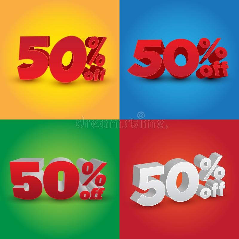 Ställ in av 3D 50% av - olik design 4 stock illustrationer