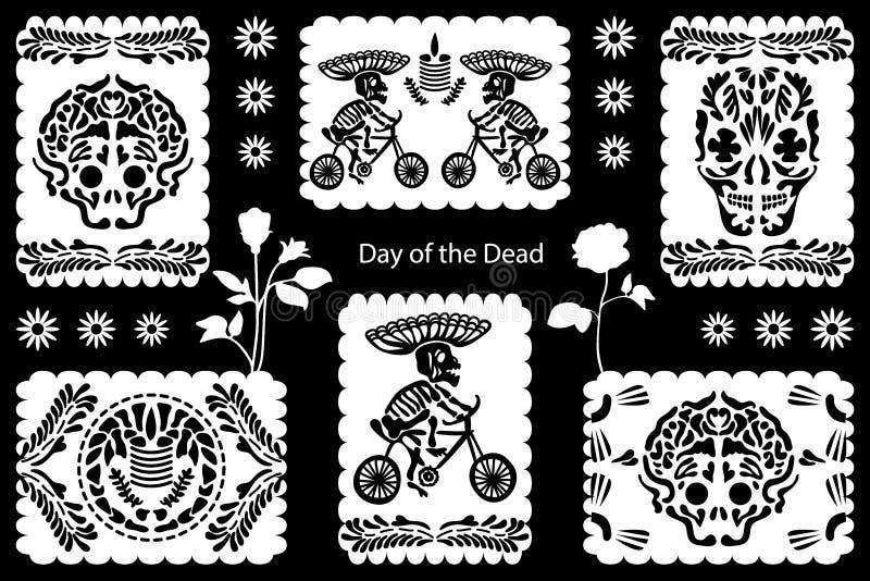 Ställ in av dag av de döda illustrationerna stock illustrationer