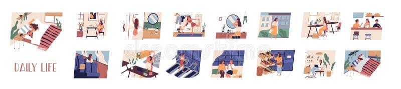 Ställ in av dagliga fritid- och arbetsaktiviteter som utför vid den unga kvinnan Packe av dagligt livplatser sova f?r flicka stock illustrationer