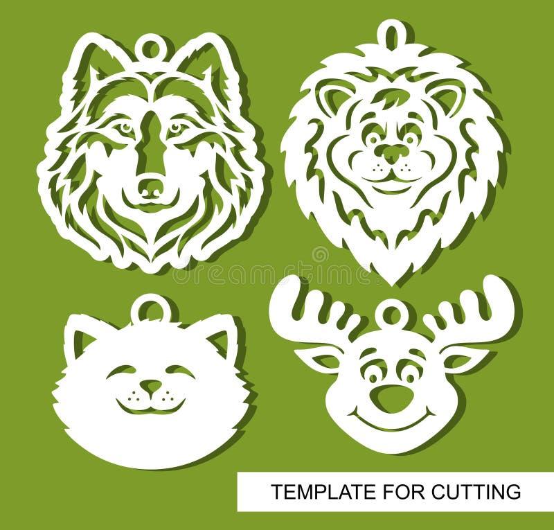 Ställ in av dekorativa hängear med djurhuvud: varg, lejon, katt och hjortar vektor illustrationer