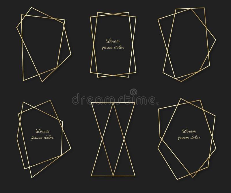 Ställ in av dekorativa polygonal ramar och gränser Guld- fotoram med hörnet royaltyfri illustrationer