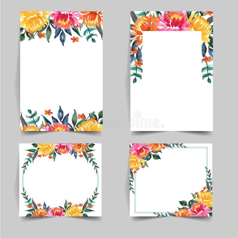 Ställ in av den älskvärda blomman för vattenfärgen för att gifta sig inbjudan royaltyfri illustrationer