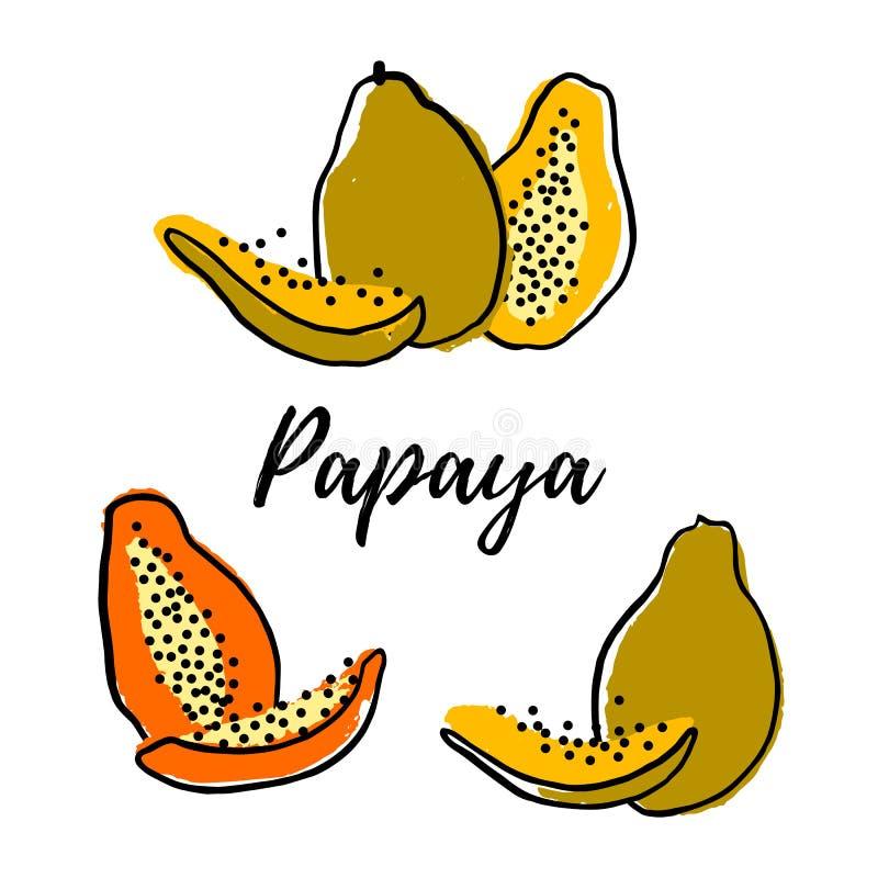 Ställ in av den abstrakta papayaen royaltyfri illustrationer