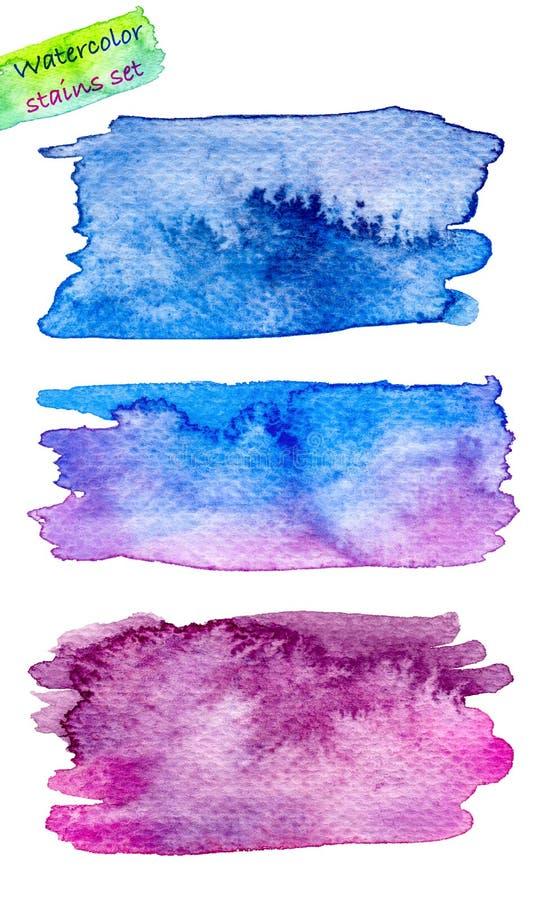 Ställ in av den abstrakta vattenfärgfläckhanden målat stock illustrationer