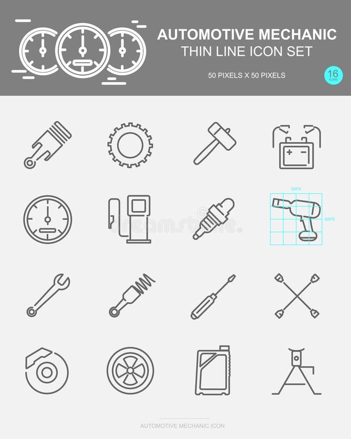 Ställ in av den AUTOMATISKA MEKANIKERN Vector Line Icons Inkluderar hjulet, olja, kugghjulet, batteri och mer vektor illustrationer