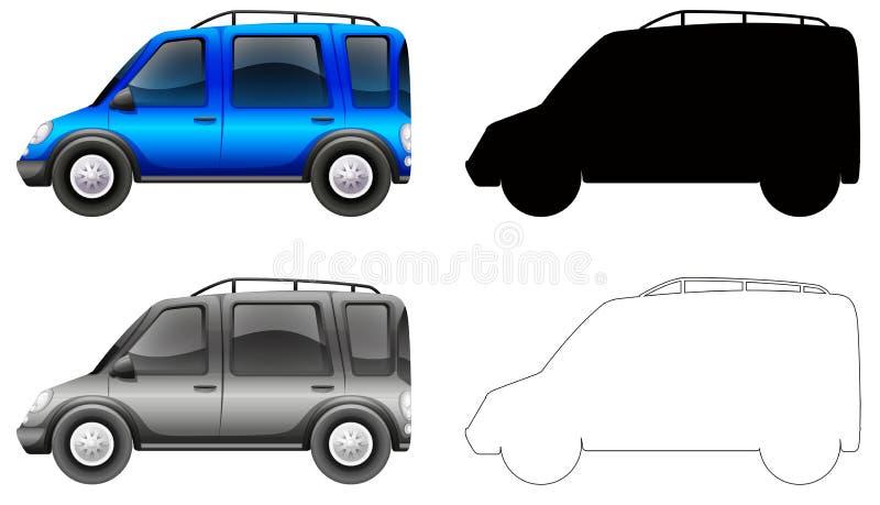 Ställ in av den blåa bilen royaltyfri illustrationer
