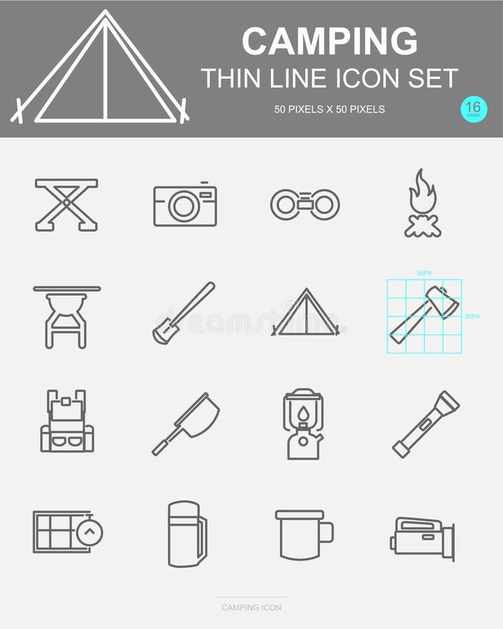 Ställ in av den campa vektorlinjen symboler Inkluderar lägret, påsen, kompasset, brand och mer vektor illustrationer