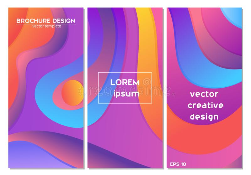 Ställ in av den färgrika minsta designbroschyren för lutningen, bokomslag Universell vektorbakgrund f?r affischen, baner, reklamb royaltyfri bild