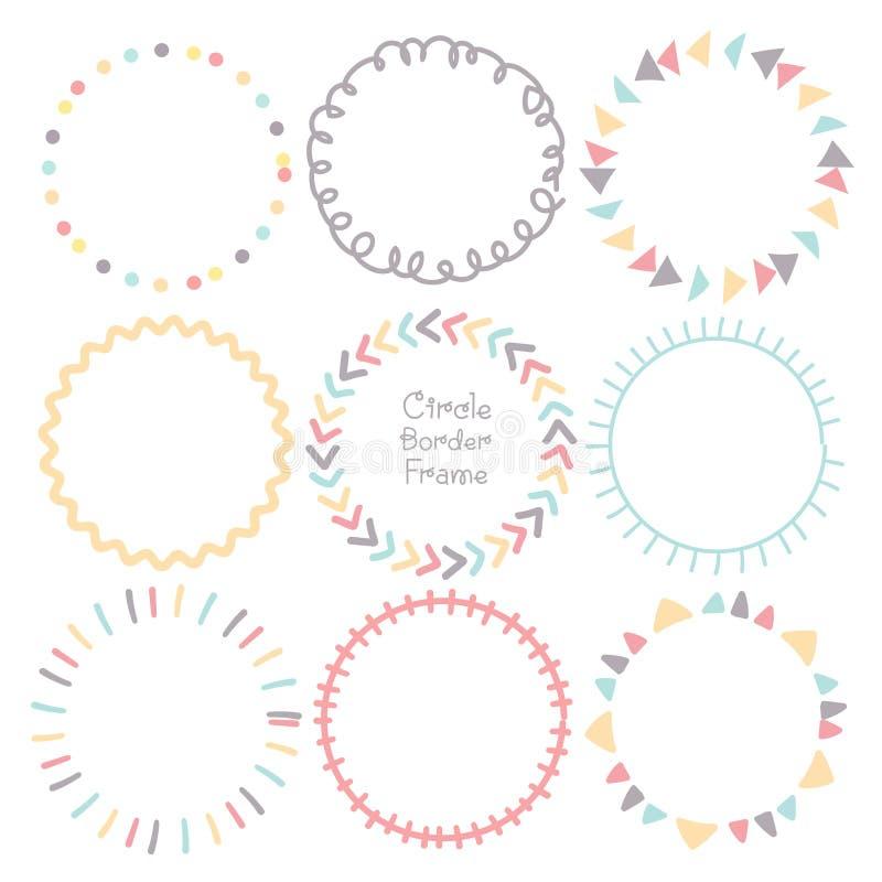Ställ in av den färgrika ramen för klottergränscirkeln, dekorativa runda ramar stock illustrationer